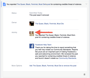Facebook's refusal to remove the page that's clearly harassing the user that reported it.