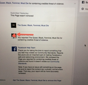 Another report of the hate page, along with Facebook's response.